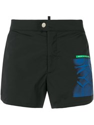 Dsquared2 Printed Patch Swimshorts Black
