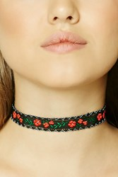 Forever 21 Floral Embroidery Choker Black Red