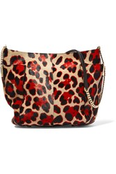 Jimmy Choo Anabel Leopard Print Calf Hair Shoulder Bag Red