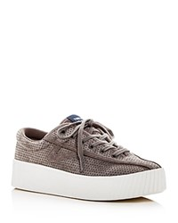 Tretorn Nylite Bold Perforated Nubuck Leather Lace Up Platform Sneakers Gray