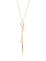 Wouters And Hendrix Gold 'Spikes Pearls And Claws' Long Necklace Earring Metallic