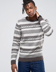 Selected Homme Crew Neck Knit In Fairisle Detail Gray