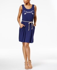 G.H. Bass And Co. Logo Graphic Rope Belt Dress Navy French