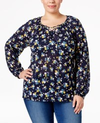 Styleandco. Style Co. Plus Size Floral Print Peasant Top Only At Macy's Dancing Petals Indigo