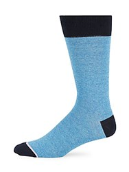 Saks Fifth Avenue Made In Italy Jaspe Thin Striped Socks Blue