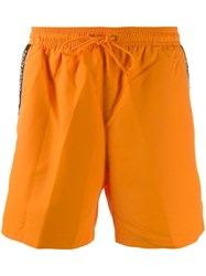 Calvin Klein Side Logo Stripe Swim Shorts Orange