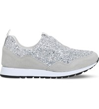Kg By Kurt Geiger Logical Slip On Glitter Trainers Silver