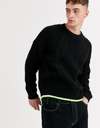 Mennace Jumper In Black With Neon Detail