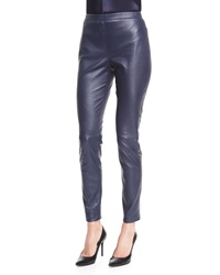 St. John Stretch Napa Leather Cropped Leggings Bright Navy