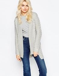 La Fee Verte Knit Cardigan In Woven Detail Lightgrey