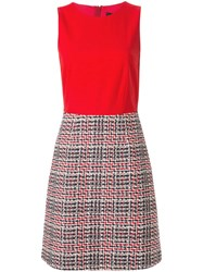 Paule Ka Contrast Fitted Dress Red