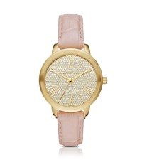 Michael Kors Hartman Gold Tone And Embossed Leather Watch