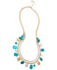 Kenneth Cole New York Gold Tone Mixed Blue Shell Bead Long Necklace