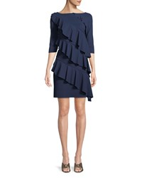 La Petite Robe Di Chiara Boni Isete Ruffled 3 4 Sleeve Cocktail Dress Navy
