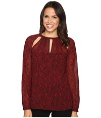 Michael Michael Kors Umbria Raglan Slit Long Sleeve Top Cinnabar Women's Clothing Red
