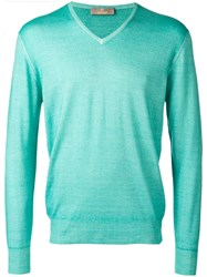 Cruciani V Neck Jumper Green