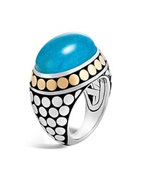 John Hardy Sterling Silver And 18K Bonded Gold Dot Dome Ring With Turquoise Blue Silver