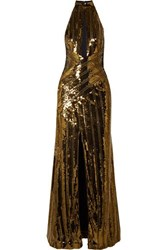 Galvan Cutout Sequined Tulle Gown Gold