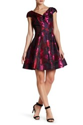 Donna Ricco V Neck Floral Fit And Flare Dress Multi