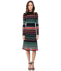 M Missoni Colorful Ripple Stitch Long Sleeve Mid Length Dress W Ruffle Collar Coral Women's Dress