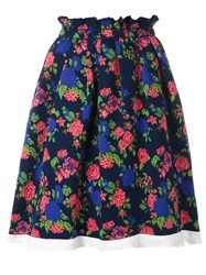 Msgm Floral Pleated Skirt Blue