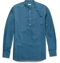 Eidos Slim Fit Grandad Collar Denim Shirt Blue