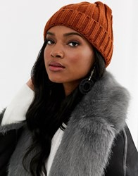 7X Svnx Chunky Beanie Hat In Rust Orange