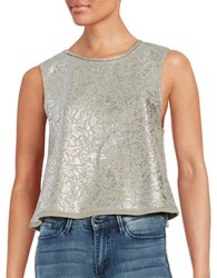 Free People Sleeveless Floral Metallic Crop Top Taupe