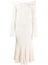 Alexander Mcqueen Cable Knit Dress White