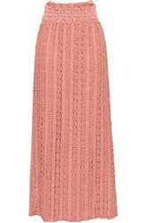 Red Valentino Shirred Lace Maxi Skirt Antique Rose