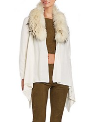 Alice Olivia Izzy Fur Collar Wool And Cashmere Cascade Cardigan Cream