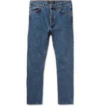 Balenciaga Slim Fit Cropped Stonewashed Denim Jeans Blue