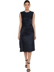 Alexander Mcqueen Duchesse Embellished Draped Midi Dress Midnight Blue