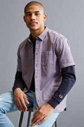 Urban Outfitters Uo Overdyed Pigment Short Sleeve Button Down Shirt Purple