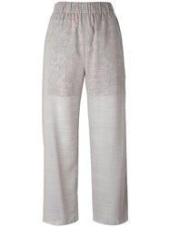Julien David Contrast Lining Trousers Women Cotton Polyester Wool S Grey