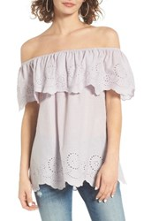 Women's Bp. Eyelet Ruffle Off The Shoulder Top Purple Evening