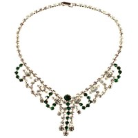 Alice Joseph Vintage 1950S Silvertone Plated Diamante Necklace Silver Green