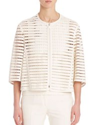 Akris Ember Faux Leather Band Grid Jacket Pelican