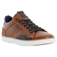 Dune Tailored1 Side Stitch Leather Trainers Tan