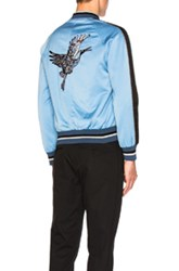 Lanvin Embroidered Patches Baseball Jacket In Blue