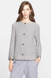 St. John Stripe Wool Blend Knit Swing Cardigan Grey Marble Cream