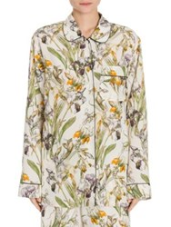 Alexander Mcqueen Floral Print Silk Pajama Top Ivory Mix