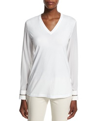 Brunello Cucinelli Long Sleeve V Neck Monili Cuff Top White