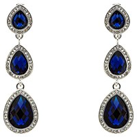 Monet 3 Crystal Drop Earrings Silver Sapphire Blue