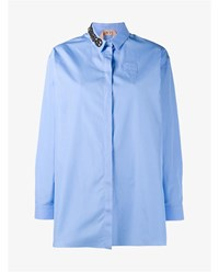 N 21 Cotton Shirt With Crystal Embellished Collar Blue Baby Blue