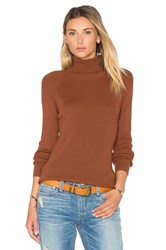 525 America Solid Rib Turtleneck Sweater Brown