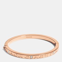 Coach Pave Hinged Metal Bangle Rosegold