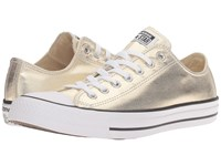 Converse Chuck Taylor All Star Metallic Canvas Ox Light Gold White Black Athletic Shoes