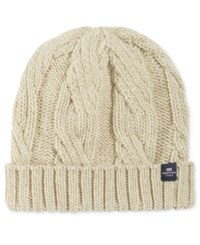 Nautica Men's Cuffed Cable Knit Beanie Sandy Heather