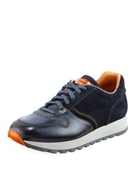 Magnanni Leather And Suede Sneaker Navy